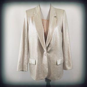 Zara Basic Gold Lined Blazer Medium EUC